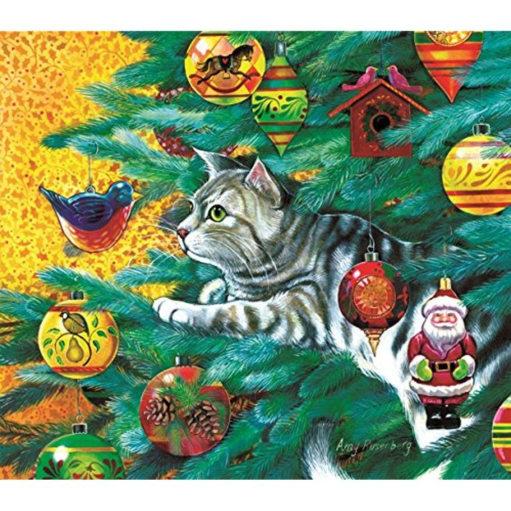 Christmas Tree Cat 300 Piece Jigsaw Puzzle by SunsOut