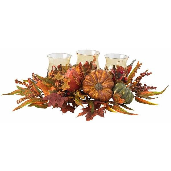 nearly natural Harvest Triple Candelabrum ($140) ❤ liked on Polyvore featuring home, home decor, orange, leaves candle, leaf candle holder, harvest home decor, nearly natural and orange home decor