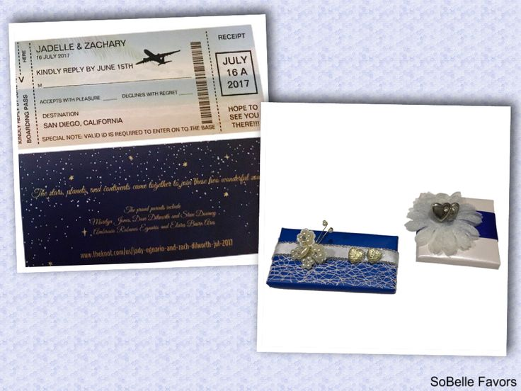 Zach and Jady from San Diego's Admiral Kidd Club had a very creative format of their wedding invitations by using an air ticket design. They also paired their wedding with SoBelle Favor's chocolate favor with a matching colorto their theme color. Congratulations Zach and Jady!  #travel #airticket #weddingfavor #customized #sandiego