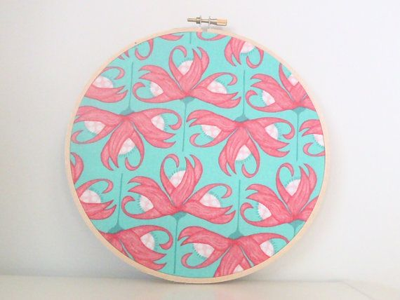 8 Inch Pink Lily and Aqua Green Embroidery Hoop Wall Art