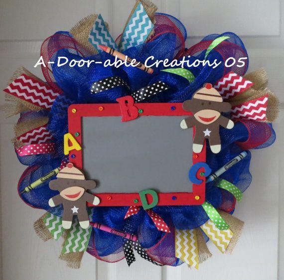 Sock Monkey..Teacher Mesh Wreath..Choose by ADoorableCreations05, $55.00