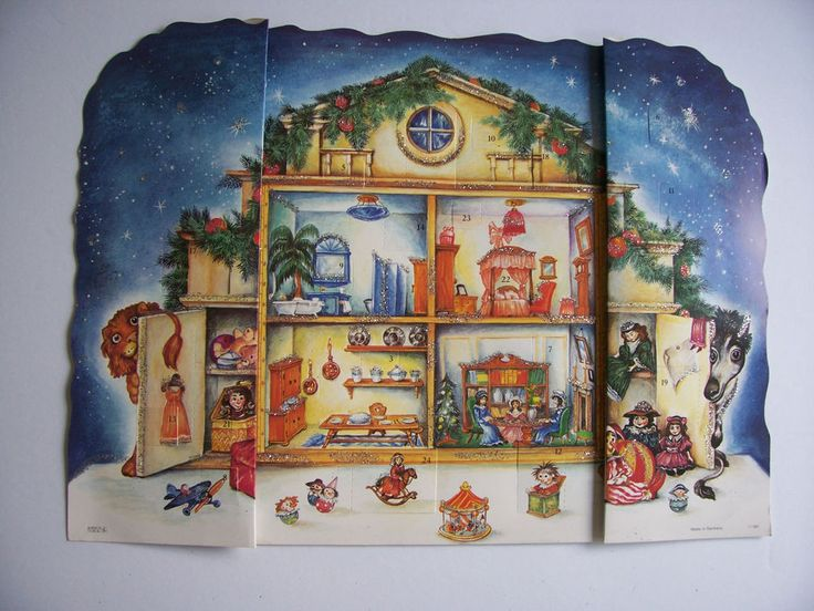 Vintage Germany Christmas ADVENT CALENDAR Fold out  Korsch Verlag ~ REDUCED  #KorschVerlag