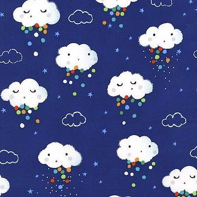 Michael Miller Showery Fabric in Midnight blue, rain cloud, cute, baby.By the FQ in Crafts, Sewing & Fabric, Fabric | eBay