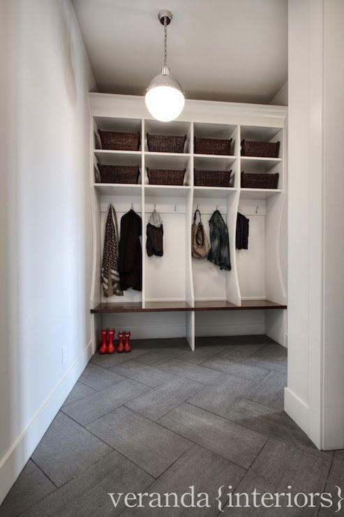 Veranda Interiors - laundry/mud rooms - isual Comfort Lighting Hicks Pendant, gray tile, gray tiled floors, large gray floor tile, herringbo...
