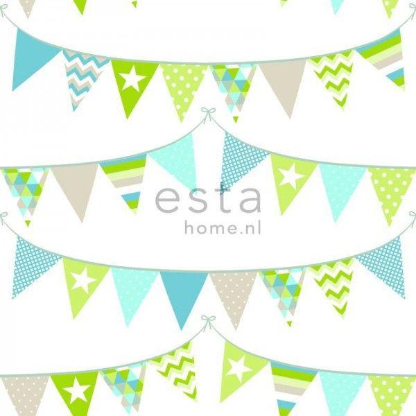 138719 HD vliesbehang vlaggenlijn turquoise, lime groen en beige