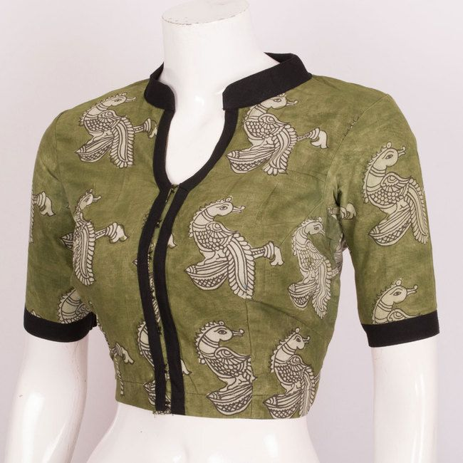 Hand Crafted Kalamkari Cotton Blouse With Lining & Collar Neck 10019594 Size - 38 - AVISHYA.COM