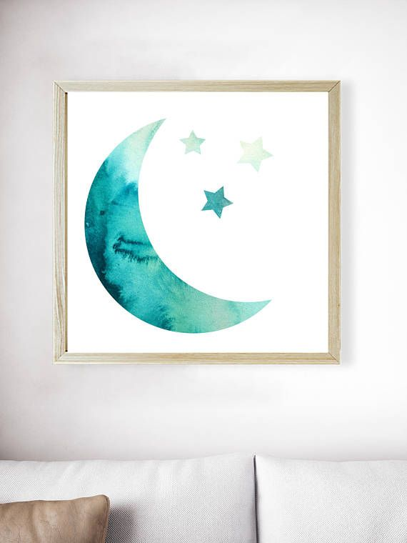 Moon Stars Teal Print | Green Watercolor | Teal Art | Moon Print | Babys Wall Art | Green Print | Baby Shower Gift | Green Art | Blue Green  ---All Artwork is Printed on High Quality, 56 lb Premium Pro Matte Paper using Premium Quality Ink ---FREE Standard Shipping Anywhere in the