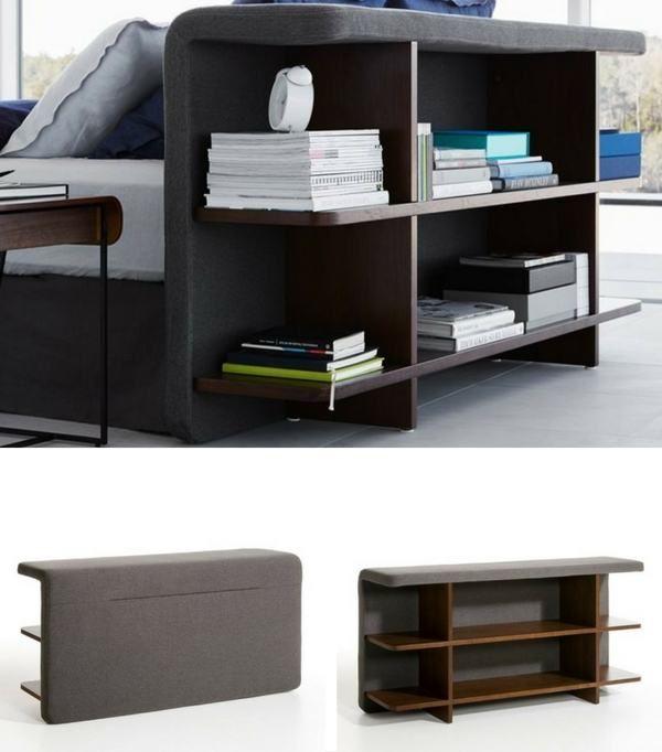 Tête de lit Yumiko AM.PM avec étagères intégrées bibliothèque  http://www.homelisty.com/meubles-multifonctions/