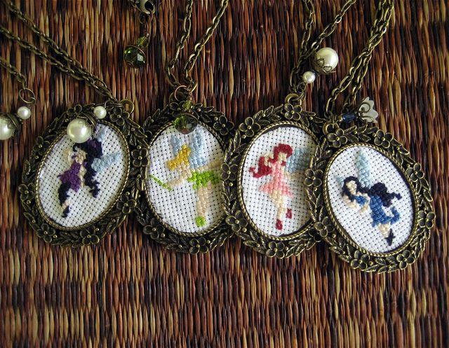Cross-Stitch Fairy Necklaces made by @La Farme / Anne / La Farme Jacobsen