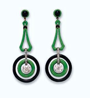 A PAIR OF ART DECO ENAMEL AND DIAMOND EAR PENDANTS  Each set with an old European-cut diamond, swinging within a two-tiered green and black enamel surround, joined by a rose-cut diamond bar link, to the green and black enamel geometric surmount, mounted in platinum-topped gold, circa 1915.  Christie's magnificent jewel auction, Oct 2009 from the collection of Ellen Birken.