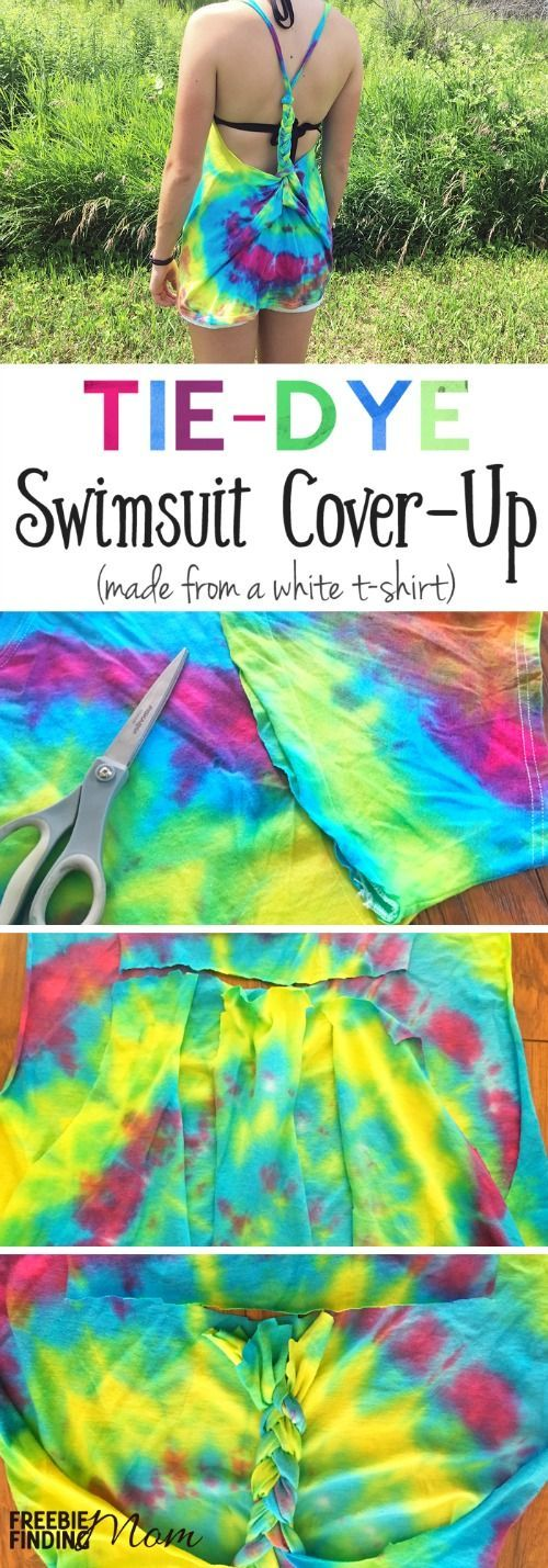 Have a white t-shirt? Perfect! Then you can easily transform it into a Tie-Dye DIY Swimsuit Cover-Up. Here's a step-by-step tutorial to learn to tie-dye a boring white t-shirt then create a cool cover-up for the pool or beach.