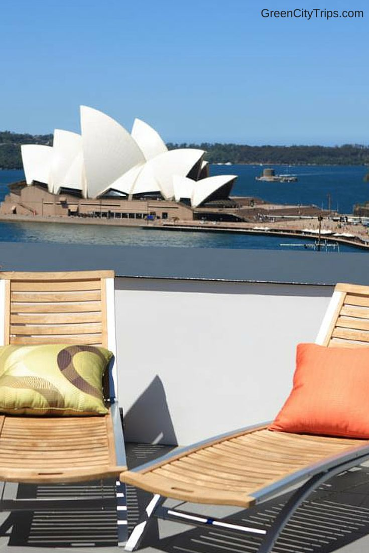 The perfect (+eco-friendly + affordable) stay in Sydney is with Sydney Harbour YHA - sustainable accommodation in Australia, and what views from the rooftop terrace! | ©GreenCityTrips.com | Ready to go? Check availability and rates http://www.booking.com/hotel/au/sydney-harbour-yha.html?aid=802126;lang=en or read our full review here http://greencitytrips.com/sydney-harbour-yha-eco-friendly-hostel/