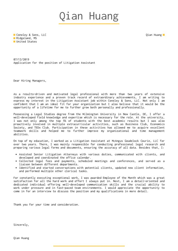 Browse Our Sample of Legal Assistant Cover Letter Template