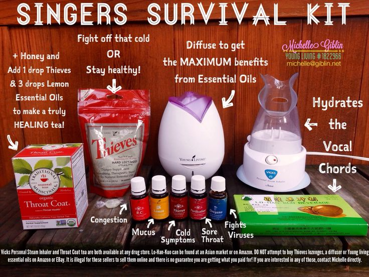 "My ""Singers Survival Kit""! All my secrets in one place. These are all the products & devices I use to keep my voice healthy or to get it healthy quick! Essential oils are the best for singers! The basic Vicks steamer is also a lifesaver! Keep it in your dressing room! Lo-Han-Kuo is regarded as ""Chinese Opera Singers Tea"" & is also a part of my pre-show/audition regimen. I should've added YL Stress Away in this image for nerves! I use it before every audition--it immediately settles the butte"