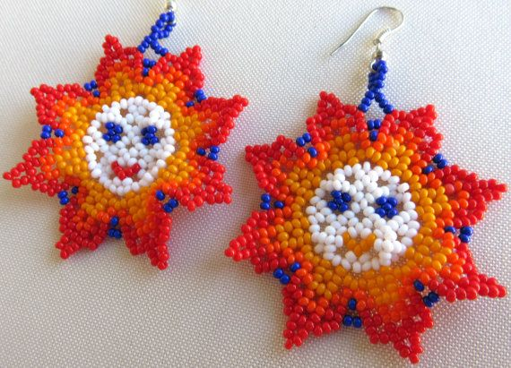 Mexican Huichol Beaded Sun Earrings by Aramara on Etsy