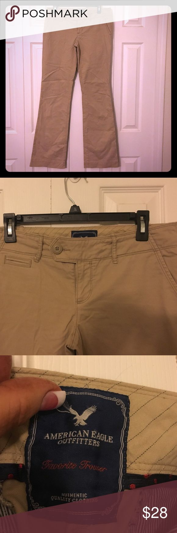 American Eagle Favorite Trouser khaki pants 6 Tall Super cute American Eagle khaki chino pants , lower rise , boot cut . Size 6 Tall American Eagle Outfitters Pants Boot Cut & Flare