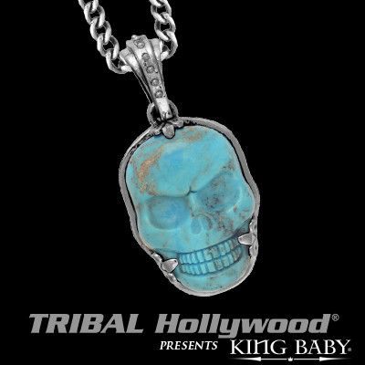 TURQUOISE SKULL Sterling Silver Necklace for Men by King Baby