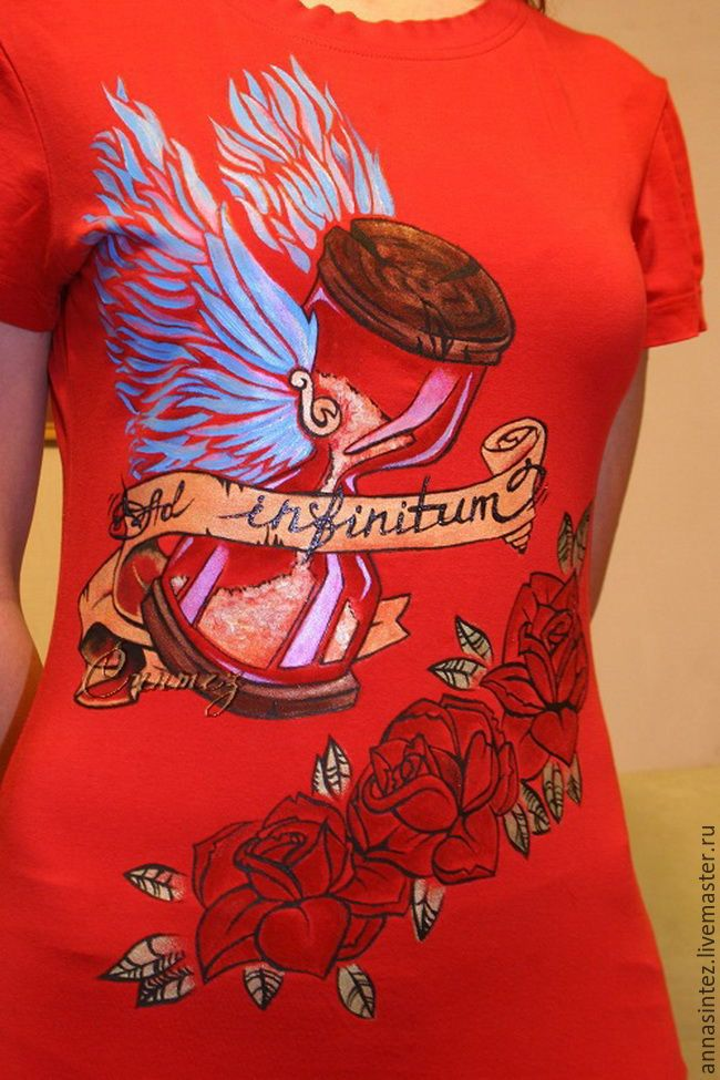 Купить роспись одежды футболка Бесконечность - украсить футболку, украшение одежды, принт иллюстрация