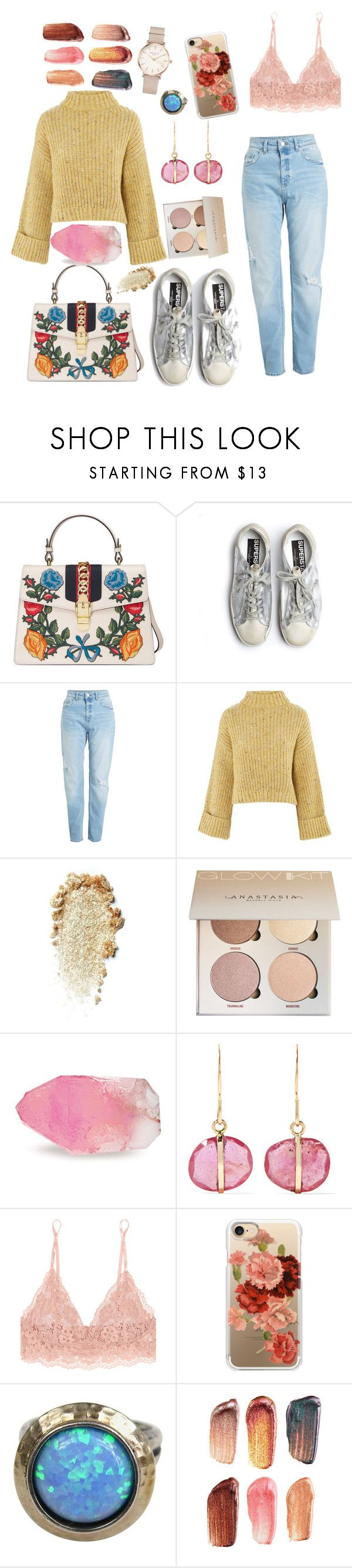 """""""colours"""" by burfurla ❤ liked on Polyvore featuring Gucci, Golden Goose, Topshop, SoapRocks, Melissa Joy Manning, Hanky Panky, Casetify, Bite, ROSEFIELD and look"""
