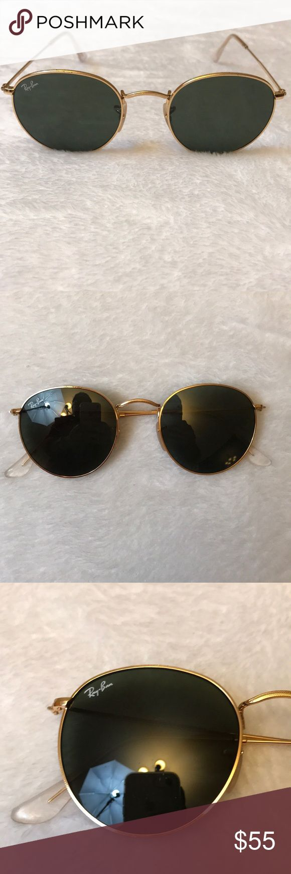 Round frame Ray Ban Sunglasses Round gold frame Ray Ban sunglasses with classic green lenses. I don't believe they are polarized I'm not sure.  They show some signs of wear as can be seen in photos.  Have some scratches and scuffs.  But still have a lot  of life left!  Make me an offer! Ray-Ban Accessories Sunglasses