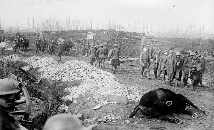 """British soldiers and Highlanders with German prisoners walk past war ruins and a dead horse, after the Battle of the Menin Road Ridge, part of the Third Battle of Ypres in September of 1917. The sign near the railroad tracks reads (possibly): """"No Trains. Lorries for Walking Wounded at Chateau [Potijze?]"""". (Bibliotheque nationale de France)"""