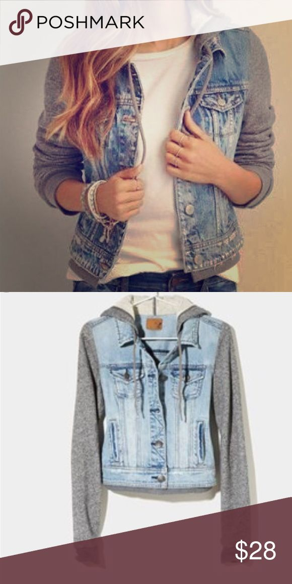 American Eagle Jean Jacket American Eagle hooded Jean jacket. Hood and sleeves are grey and cotton material. Size large American Eagle Outfitters Jackets & Coats Jean Jackets