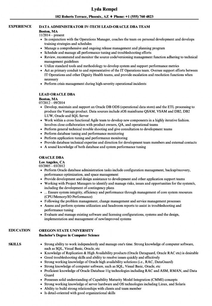 Oracle Dba Resume 2021 Resume Examples Manager Resume Graphic Design Resume