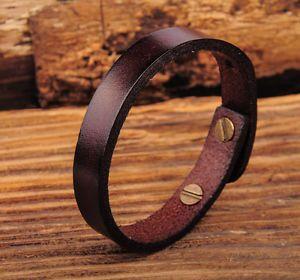 JG370 Dark Brown Simply Rock Single Band Genuine Leather Bracelet Wristband   eBay