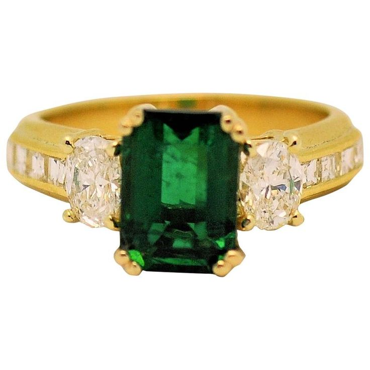 Fine Brazilian Emerald Diamond Ring with American Gem Lab Report 1