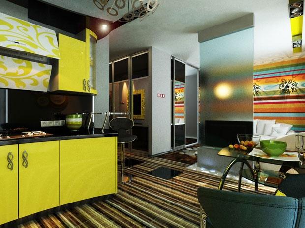 Дизайн кухни-гостиной. Интерьер в стиле «диско»
