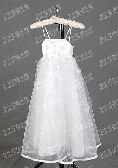 Цветок Девочки Платья для Свадьбы Цветок Спагетти Ремень Свадебные Платья Белый Органзы Платье