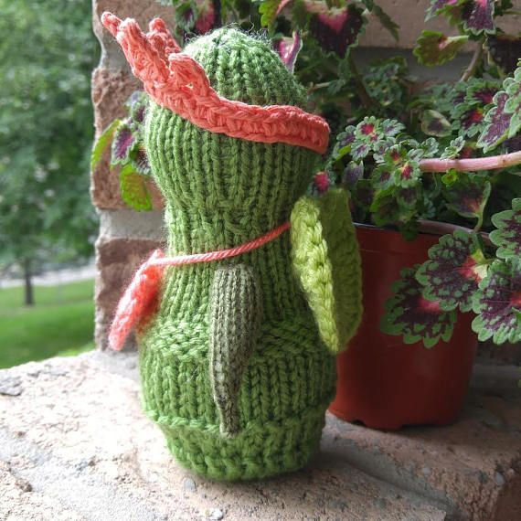 """Shop for gifts! Knitted soft toy """"Green Angel""""."""
