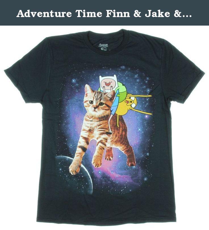 Adventure Time Finn & Jake & Cat T-Shirt. Black T-shirt from Adventure Time with Finn & Jake riding a cat in space design.