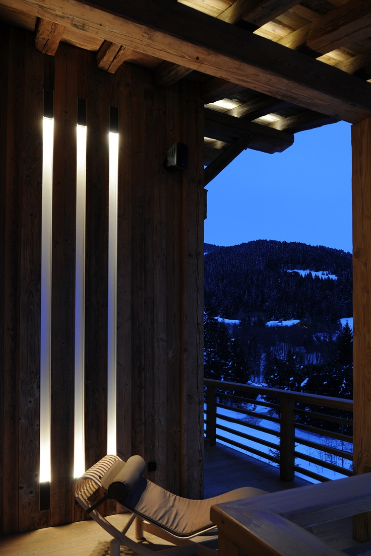 ski chalet in France with Kreon lighting with Dolma Outdoor