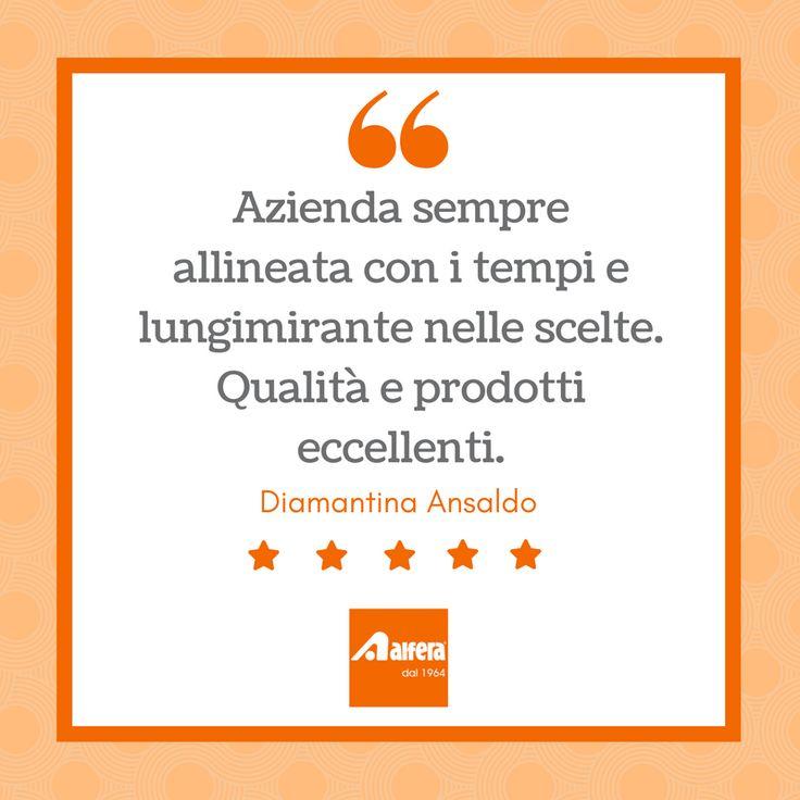 Ringraziamo molto Diamantina Ansaldo per la sua valutazione più che positiva della nostra azienda e dei nostri prodotti.