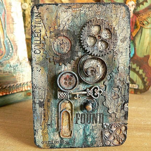 Mixed Media Blog Project - Crackle Fun With Altered Playing Cards - Altered Playing Cards (or short APCs) are great fun to do! They are slightly larger than the better known Artist Trading Cards (ATCs) but still quite small – so they are perfect when you have only little space or time to create. And did you know that you can use DecoArt Media Crackle Paste to stick found objects directly to any substrate– without having to use additional glue? It's so easy, so quick and so much fun!