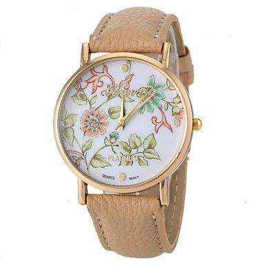 Women's Fashion Style Flower Pattern PU Band Quartz Wrist Watch  – USD $ 5.99