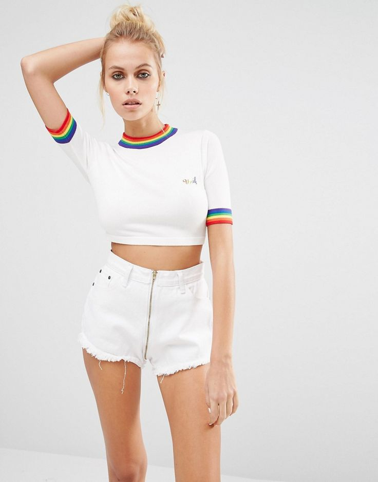 Image 1 ofUNIF Rainbow Trim Cropped Knit Top