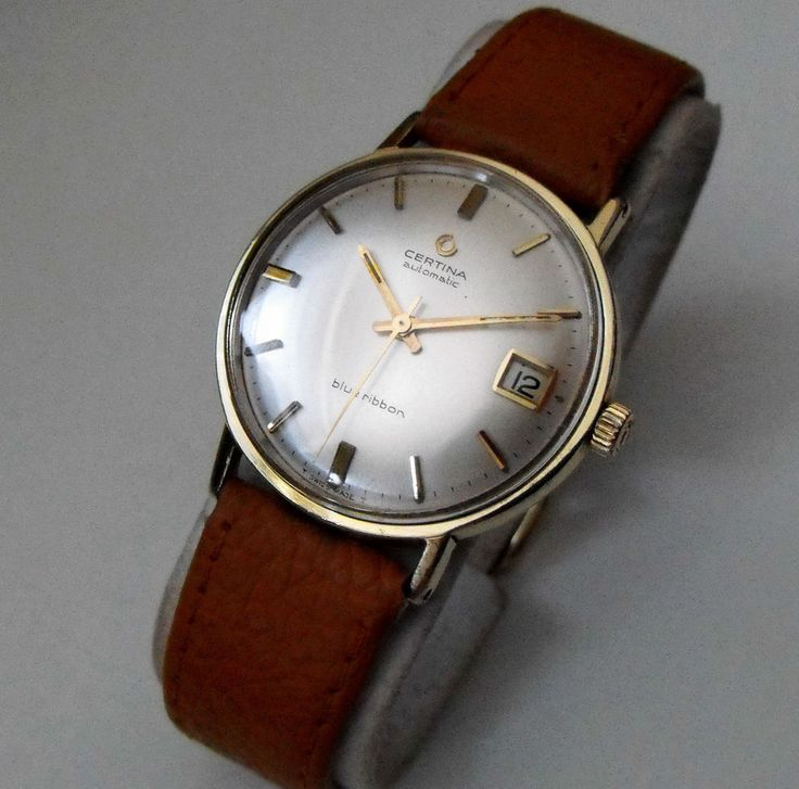 VINTAGE CERTINA BLUE RIBBON AUTOMATIC SWISS 27 JEWEL GOLD PLATED WATCH 1970S