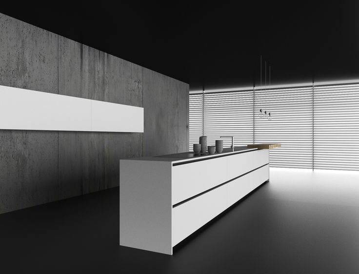 """Island with 150 cm width base units and 70 cm tall unit """"nucleo"""" system with sliding doors and concealed appliances. Base unit and tall unit in mat white #lacquer 22 mm thickness. Solid surface white #worktop 20 mm thickness whit integrated bowl and induction hob flush with the worktop. 8 cm thickness breakfast bar worktop, natural #oak groove finish, with grooves, stained with vegetables oils."""