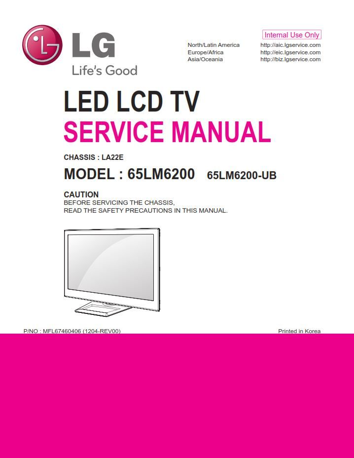 LG 65LM6200 3D Smart LED TV Service Manual and Repair Guide