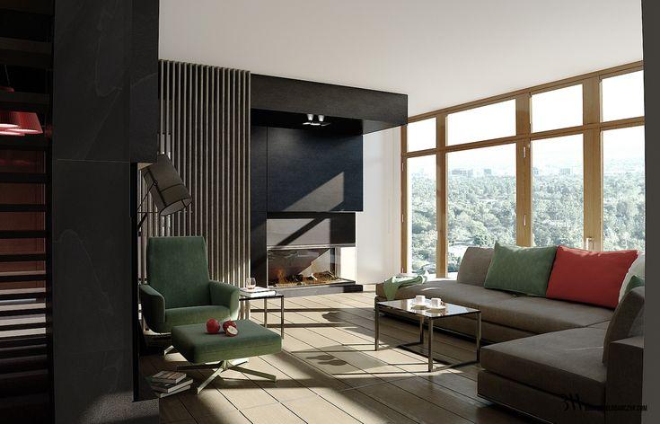 Wysoki salon z widokiem na sofę i kominkiem wykonanym z czarnego granitu, www.bartekwlodarczyk.com
