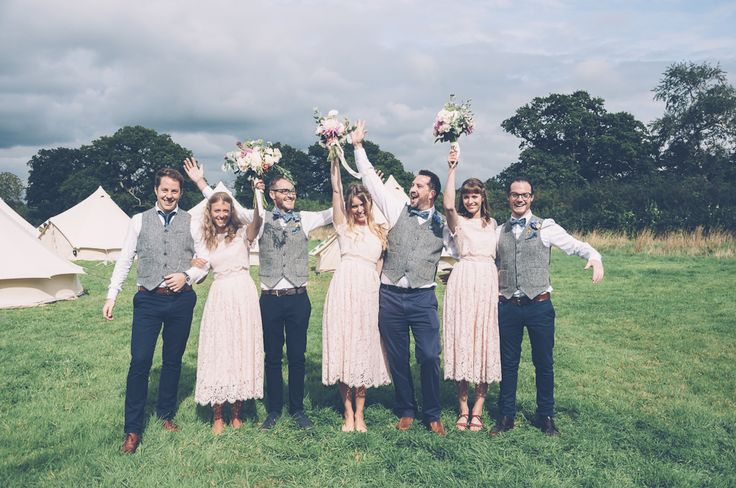 Image by Louise Griffin Photography - Ginger by Enzoani bridal gown for a rustic farm wedding at The Secret Barn wedding venue in Sussex with pink ASOS lace bridesmaid dresses by Louise Griffin Photography