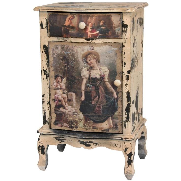 Rustic Victorian Children End Table Cabinet   OrientalFurniture.com