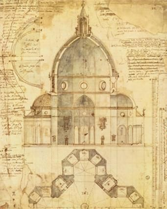 watercolor cross-section of the cupola for the Duomo in Florence. (Cupola…