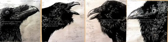 Unkind Conversations All four prints  Relief print. by RAVENSTAMPS, $300.00