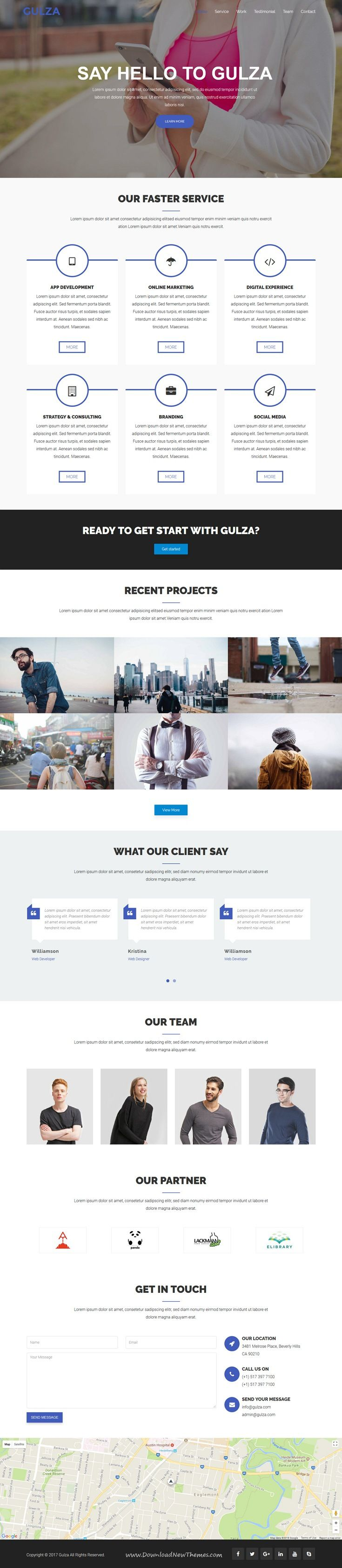 Gulza is clean and modern design responsive #HTML5 template for onepage #corporate business website to live preview & download click on Visit  #webdesigns