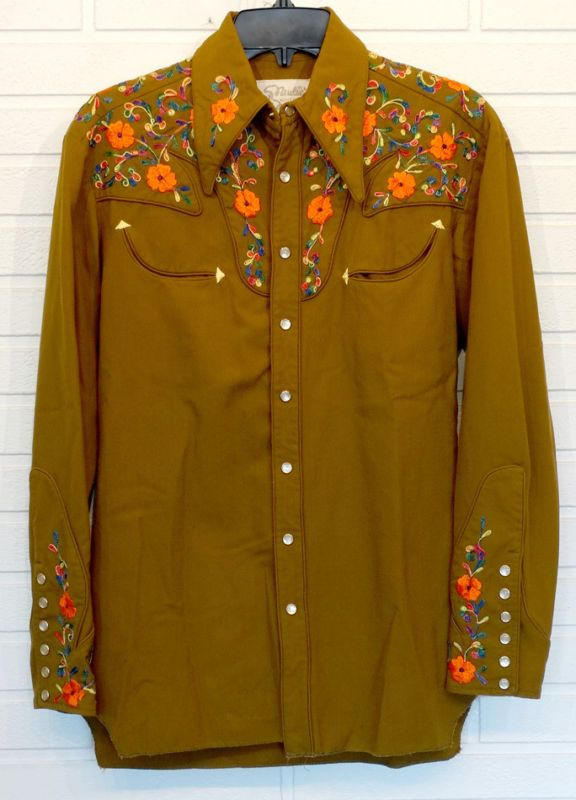 Vintage NUDIE COHN Nudies Rodeo Tailors EMBROIDERED WESTERN SHIRT Country Music