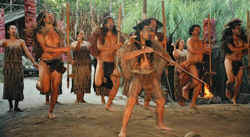 Maori greeting to their village.  New Zealand