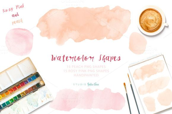 Watercolor Splotches Shapes by Studio Julie Ann on Creative Market